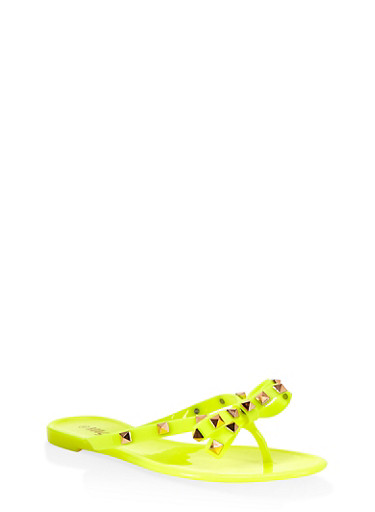 Studded Bow Jelly Flip Flops | 1112004067885,NEON YELLOW,large