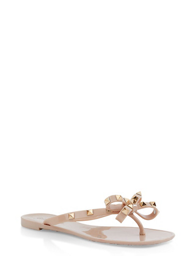 Studded Bow Jelly Flip Flops | 1112004067885,NUDE,large