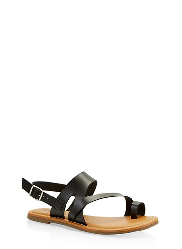 Asymmetrical Toe Ring Sandals,BLACK,large