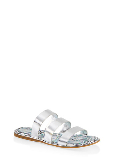 Printed Sole Triple Band Slide Sandals,SILVER,large