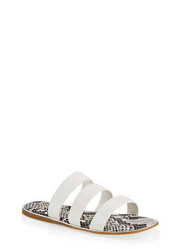 Printed Sole Triple Band Slide Sandals,WHITE,large