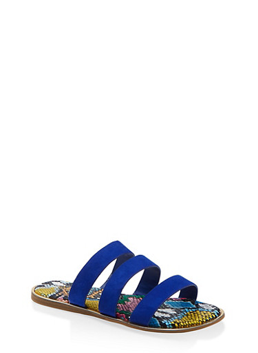 Printed Sole Triple Band Slide Sandals,ELECTRIC BLUE,large