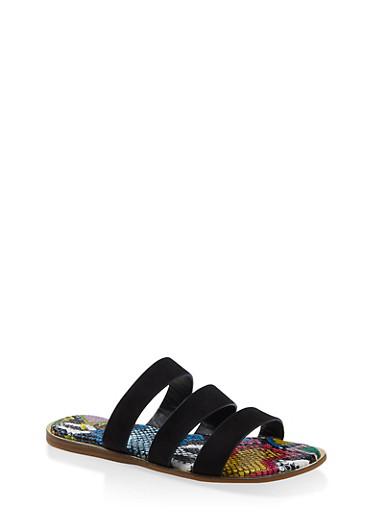 Printed Sole Triple Band Slide Sandals,BLACK SUEDE,large