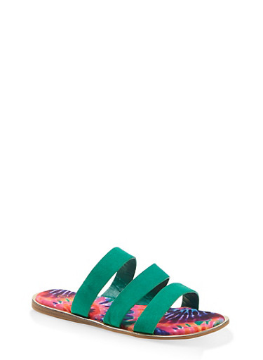 Printed Sole Triple Band Slide Sandals,GREEN S,large