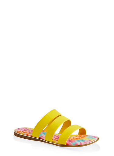 Printed Sole Triple Band Slide Sandals,YELLOW S,large