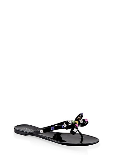 Studded Bow Thong Jelly Flip Flops,BLACK,large