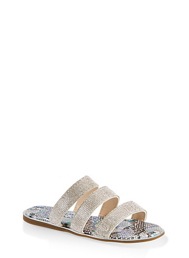 Rhinestone Three Band Slide Sandals,SILVER,large