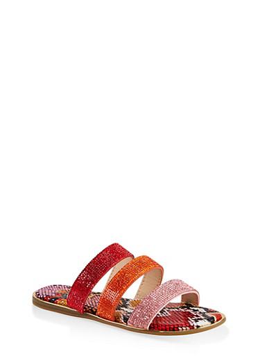 Rhinestone Three Band Slide Sandals,RED,large