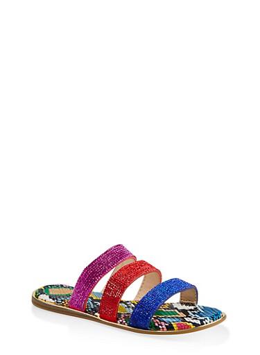 Rhinestone Three Band Slide Sandals,NEON PINK,large