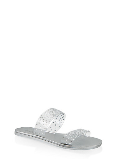 Rhinestone Studded Double Band Slide Sandals,SILVER,large