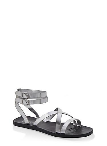 Multi Cross Strap Sandals,SILVER,large