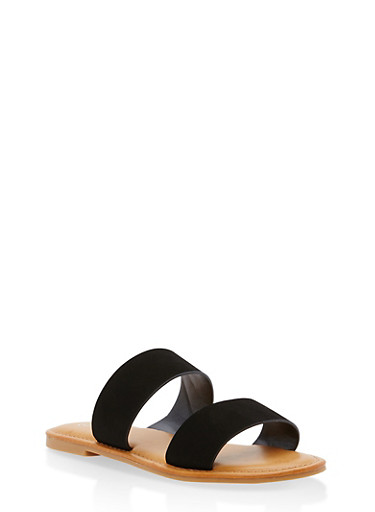 Double Band Flat Slide Sandals,BLACK NUBUCK,large