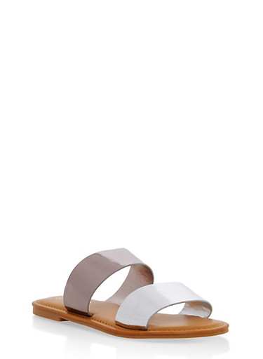 Double Band Flat Slide Sandals | Tuggl