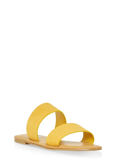 Two Band Slide Sandals | 1112004068345,YELLOW,large