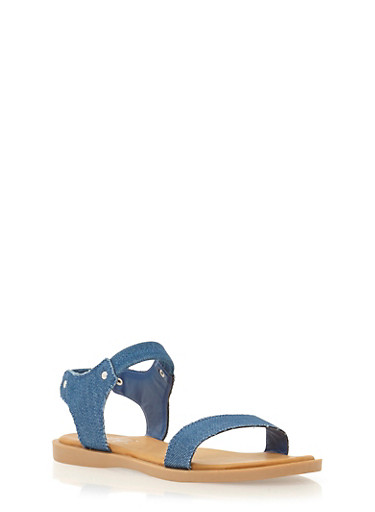 Sandals with Studded Accents,BLUE DENIM,large