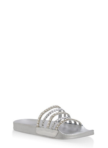 Rhinestone Studded Slide Sandals | Tuggl