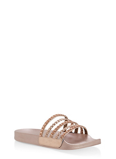 Rhinestone Studded Slide Sandals,ROSE GOLD/ROSE GOLD,large