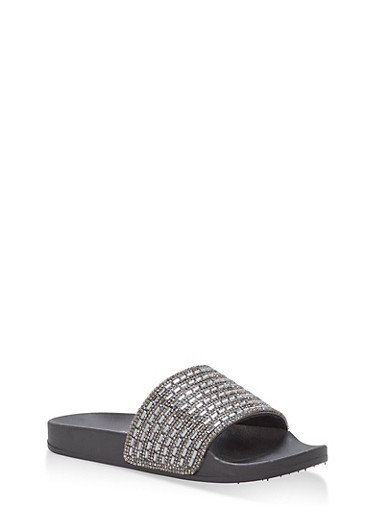 Rhinestone Jeweled Slides,BLACK/BLACK,large