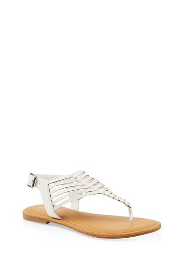 Laser Cut Thong Sandals,WHITE,large