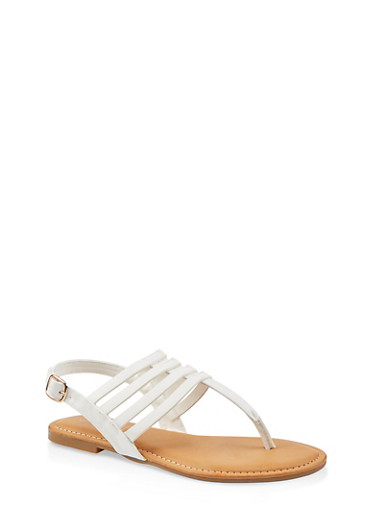 Caged Slingback Thong Sandals,WHITE,large