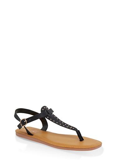 Studded Thong Sandals,BLACK,large