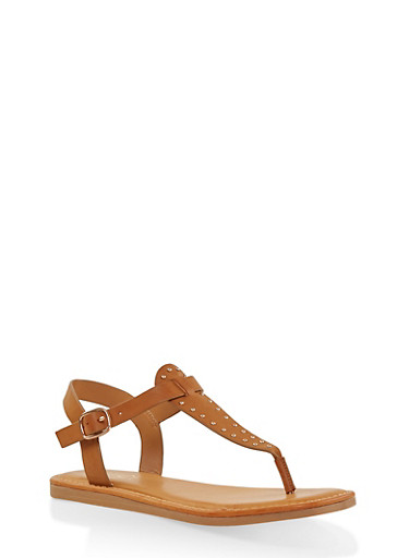 Studded Thong Sandals,TAN,large