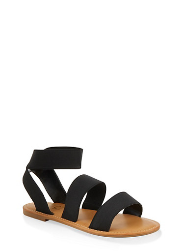 Elastic Double Band Ankle Strap Sandals,BLACK,large