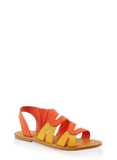 Two Tone Slingback Sandals,ORANGE,large