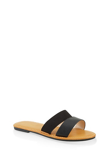 Split Band Slide Sandals,BLACK,large