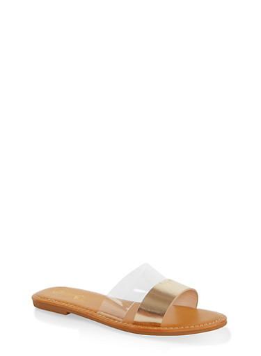 Split Band Slide Sandals,GOLD,large
