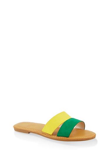 Split Band Slide Sandals,GREEN S,large