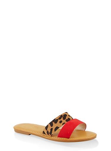 Split Band Slide Sandals,RED S,large