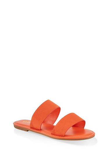 Two Band Slide Sandals | 1112004069291,ORANGE,large