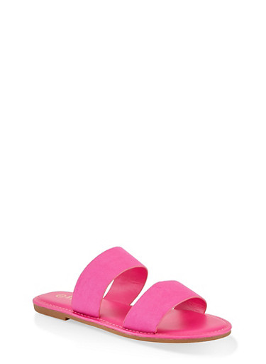 Two Band Slide Sandals | 1112004069291,NEON PINK,large