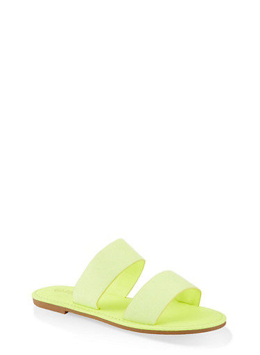 Two Band Slide Sandals | 1112004069291,NEON YELLOW,large