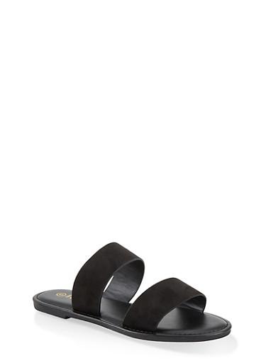 Two Band Slide Sandals | 1112004069291,BLACK SUEDE,large