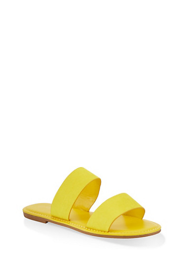 Two Band Slide Sandals | 1112004069291,YELLOW S,large