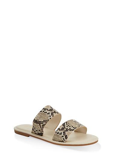 Two Band Slide Sandals | 1112004069291,NATURAL SKIN PRINT,large