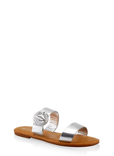 Two Band Buckle Slide Sandals,SILVER,large