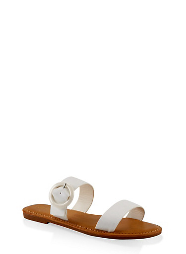 Two Band Buckle Slide Sandals,WHITE,large
