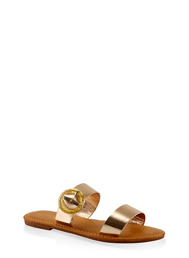 Two Band Buckle Slide Sandals,GOLD,large