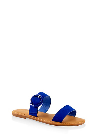 Two Band Buckle Slide Sandals,ELECTRIC BLUE,large