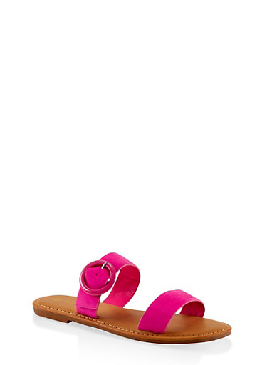 Two Band Buckle Slide Sandals,NEON PINK,large