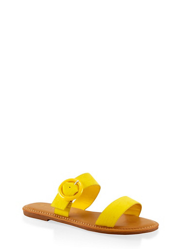 Two Band Buckle Slide Sandals,NEON YELLOW,large