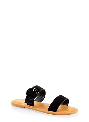 Two Band Buckle Slide Sandals,BLACK SUEDE,large