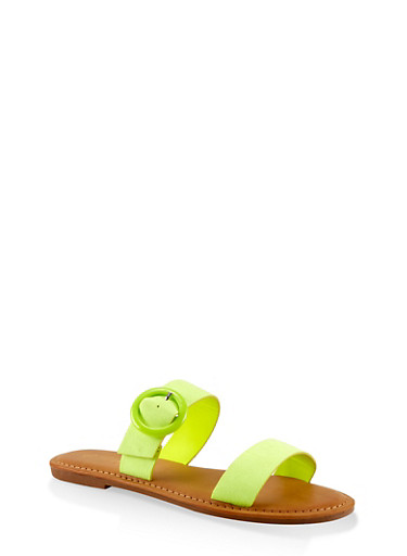 Two Band Buckle Slide Sandals,YELLOW S,large