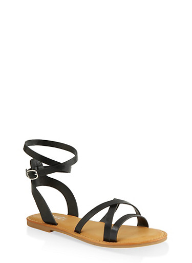 Strappy Open Toe Sandals,BLACK,large