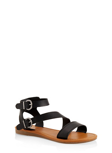 Asymmetrical Buckle Strap Sandals,BLACK,large