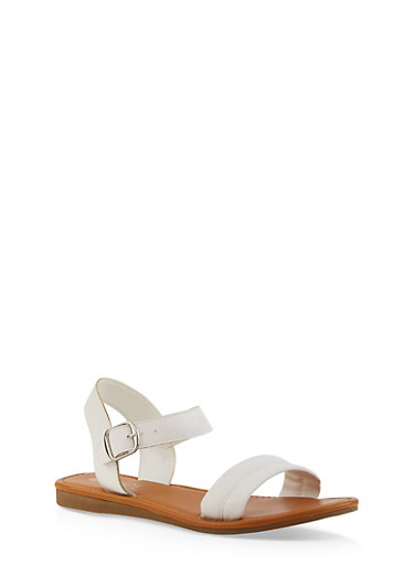 Ankle Strap Sandals,WHITE,large