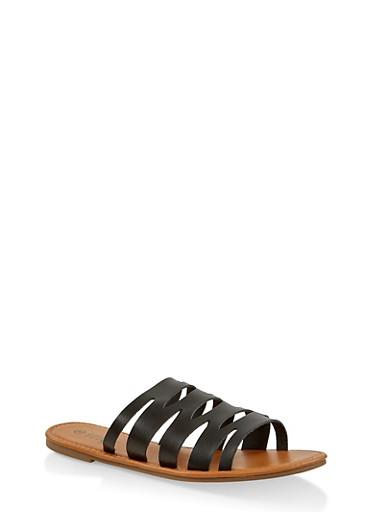 Laser Cut Slide Sandals | 1112027615812,BLACK,large
